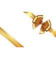shiny golden satin ribbon gold bow vector image vector image