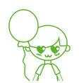 silhouette cute boy with balloon and hairstyle vector image vector image
