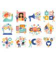 social media flat set vector image vector image