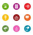 stable earning icons set flat style vector image vector image