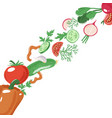 strip of sliced whole vegetables banner template vector image vector image