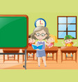 teacher teaching in classroom at school vector image