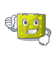 thumbs up square character cartoon style vector image