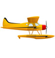 yellow seaplane airplane on white background vector image