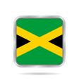 flag of Jamaica shiny metallic gray square button vector image