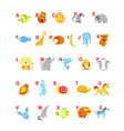 alphabet cartoon animals with letters for child vector image