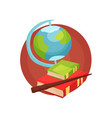education icon stack of books globe and pointer vector image