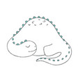 a doodle of cute sleeping dinosaur vector image vector image