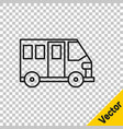 black line school bus icon isolated on transparent vector image vector image
