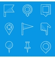 Blueprint icon set Push pin map vector image vector image