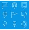 Blueprint icon set Push pin map vector image