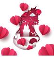 cartoon paper landscape princess castle heart vector image vector image