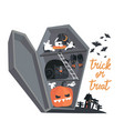 cartoon with coffin and halloween vector image