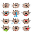 cat emojis set of emoticons icons isolated vector image vector image