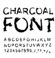 Charcoal font Letters from charcoal Black tattered vector image vector image