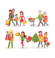 christmas holiday approaching people shopping vector image vector image