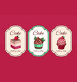 cupcakes hand drawn lettering with cupcakes vector image