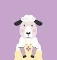 cute sheep in yellow dress cartoon character vector image