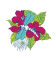 Dragonfly with flowers vector image vector image