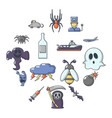 fears phobias icons set cartoon style vector image vector image