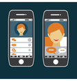 flat design of smart phone application with young vector image