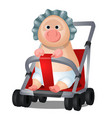 funny animated pig in pram isolated on white vector image vector image