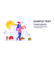 girl holding candy cane lollipop standing near vector image vector image