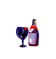 glass with a bottle of wine color vector image vector image