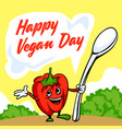 happy vegan day concept background cartoon style vector image vector image