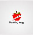 healthy way logo iconelementand template vector image vector image