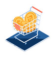 isometric cryptocurrency coin inside shopping vector image vector image