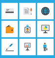 job icons flat style set with bank card vector image vector image
