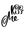 kiss me handdrawn calligraphy for valentine day vector image vector image