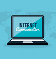 laptop with internet communication vector image vector image