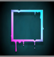 melting frame 3d flowing art flux square drop leak vector image vector image