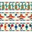 Mexican seamless borders with icons in native vector image vector image