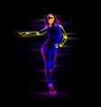 neon night dance girl vector image