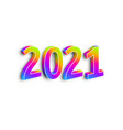 neon numbers 2021 on white background vector image