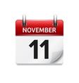 November 11 flat daily calendar icon vector image vector image