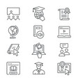 online education line icons set black vector image vector image