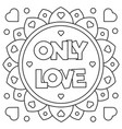 only love coloring page vector image vector image