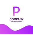 p company logo design with purple theme vector image vector image