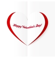 Red and white cutout heart Valentines card vector image vector image
