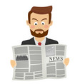 serious businessman reading newspaper vector image vector image