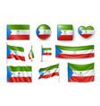 set equatorial guinea flags banners symbols vector image vector image