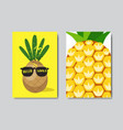 set hello summer pineapple badge isolated vector image