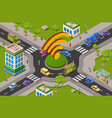 smart city traffic and wifi on crossroad isometric vector image vector image