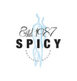 spicy logo design estd 1978 badge can be used for vector image