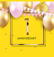 template 1 years anniversary background vector image vector image