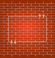 text quote sign whitish icon on brick vector image vector image